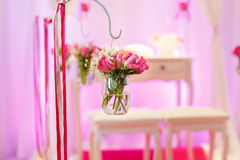 Beautiful flower arrangement in white and pink for wedding or ev Royalty Free Stock Photos