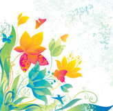 Beautiful flower background with butterfly and col. Ibri. Image for design Royalty Free Stock Images