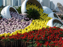 Beautiful flower bed in the asian city of Shanghai, China. Flower bed in the beautiful asian city of Shanghai, China Stock Photo