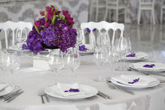 Beautiful flower bouquet decoration on wedding table Royalty Free Stock Photo