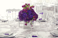 Beautiful flower bouquet decoration on wedding table Stock Images