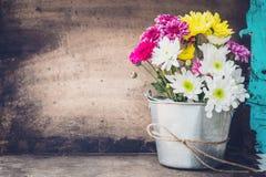 Beautiful flower bouquet in metal pots. Royalty Free Stock Photo