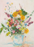 Beautiful flower bouquet, oil painting. Oil painting illustrating beautiful flower bouquet in glass vase Royalty Free Stock Photography