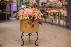Beautiful  flower bouquet in round box with lid Stock Photography
