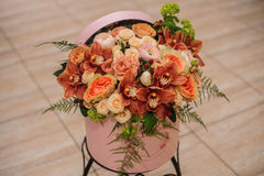 Beautiful  flower bouquet in round box with lid Stock Photos