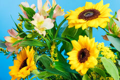 Beautiful flower bouquet with sunflowers. Blue background, horizontal. Stock Photos