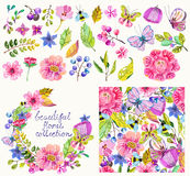 Beautiful flower collection with pattern and wreath Royalty Free Stock Photography