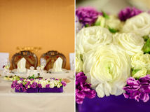 Beautiful flower composition on the wedding table Stock Images