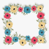 Beautiful flower decorated frame. Stock Photo