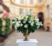 Beautiful flower decorations for the wedding ceremony Stock Photo