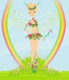 Beautiful flower fairy. Illustration Stock Photos