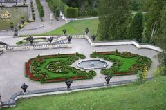 Flower garden from boxwood near Linderhof palace in Germany royalty free stock photos