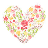 Beautiful flower heart postcard. Made of various floral elements with love Stock Photo