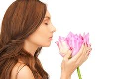 beautiful flower lotus woman Στοκ Εικόνα