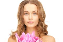 beautiful flower lotus woman Στοκ Φωτογραφίες