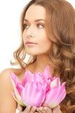 beautiful flower lotus woman Στοκ Εικόνες