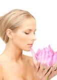 beautiful flower lotus woman Στοκ φωτογραφίες με δικαίωμα ελεύθερης χρήσης