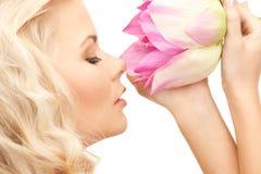 beautiful flower lotus woman Στοκ Φωτογραφία