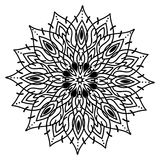 Beautiful flower with mandala pattern. Black and white creative ornament for background or tatto design Royalty Free Stock Photo