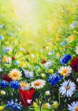 Painting flower modern colorful wild flowers. Beautiful flower meadow - multicolored flowers on a sunny summer field. Flower landscape Original oil painting on stock photo