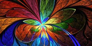 Beautiful flower pattern in stained-glass window style. Dark-blu Stock Image