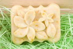 Beautiful flower picture in handmade soap Stock Photo