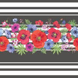 Beautiful Flower Seamless Pattern with Strips. Stock Image