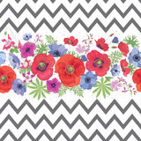 Beautiful Flower Seamless Pattern with Strips. Royalty Free Stock Image