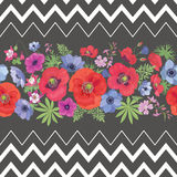 Beautiful Flower Seamless Pattern with Strips. Stock Photography