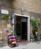 Beautiful flower shop in a small Tuscan town Royalty Free Stock Image