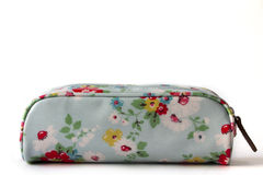 Beautiful Flower sky blue pencil bag isolated on white backgroun Stock Photo
