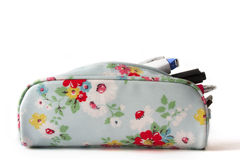 Beautiful Flower sky blue pencil bag  on white background Stock Photo