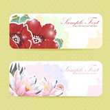 Beautiful flower sticker postcards Royalty Free Stock Photo