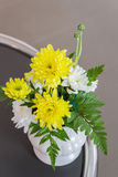 Beautiful flower with sweet chrysanthemum in vase. Stock Images