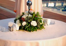 Beautiful Flower Table Centerpiece. A pretty table centerpiece... that's always in bloom Stock Images