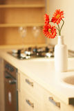 Beautiful flower on table in modern kitchen Royalty Free Stock Photography