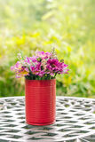 Beautiful flower in vase D.I.Y on table in nature garden Stock Images