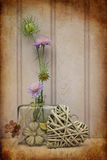 Beautiful flower in vase with heart still life love concept Royalty Free Stock Photo