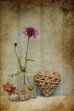 Beautiful flower in vase with heart still life love concept Royalty Free Stock Images