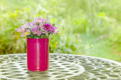 Beautiful flower in vase on table in vintage style Stock Images
