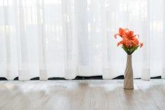 Beautiful flower vase on white drape background. Stock Photography