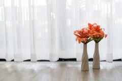 Beautiful flower  vase on white drape background. Royalty Free Stock Photos
