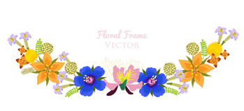 Beautiful Flower Vector Frame Background. Flower Garlands Isolated On White. Stock Photography