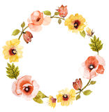 Beautiful flower watercolor wreath. Stock Images