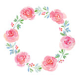 Beautiful flower watercolor wreath Royalty Free Stock Photo