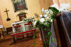 Beautiful flower wedding decoration in church Stock Images