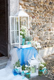 Beautiful flower wedding decoration in a church. During catholic wedding ceremony Stock Images