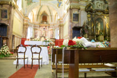 Wedding decoration church stock photos royalty free pictures beautiful flower wedding decoration in a church during catholic wedding ceremony stock photo junglespirit Images