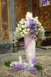 Beautiful flower wedding decoration in a church. During catholic wedding ceremony Royalty Free Stock Photos
