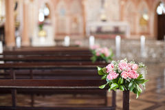 Beautiful flower wedding decoration in a church Royalty Free Stock Photo